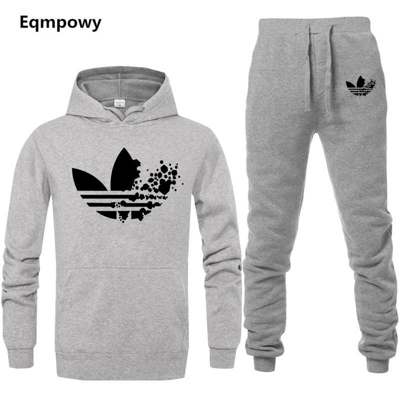 1feb57853e70 New 2019 Brand Tracksuit Fashion A DI Men Women Sportswear Two Piece Sets  All Cotton Fleece Thick hoodie+Pants Sporting Suit