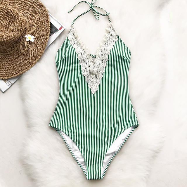 Swimsuit: Lace Splicing Back Hook Closure One-piece Swimsuit