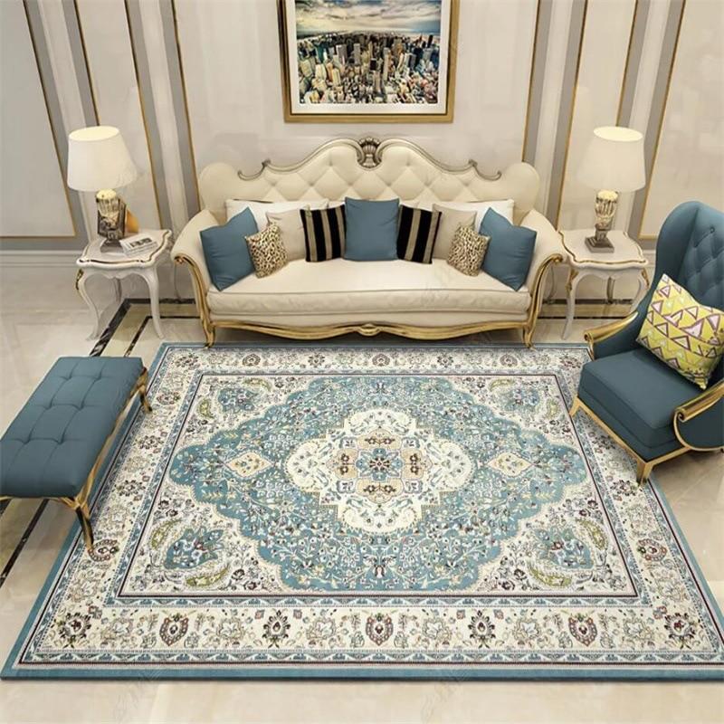 European Palace Carpet Livingroom Bedroom Area Rugs Nordic Persian Retro Blue Rug Large Parlor Hallway Floor Mat Customized Rug