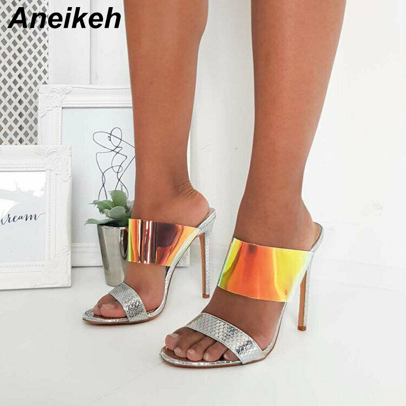 Aneikeh PVC Mixed Colors Woman Slippers Shoes Ankle-Wrap Slip-On Summer 2019 Ladies High Thin Heels Pumps Slides Size 35-40 Aneikeh PVC Mixed Colors Woman Slippers Shoes Ankle-Wrap Slip-On Summer 2019 Ladies High Thin Heels Pumps Slides Size 35-40