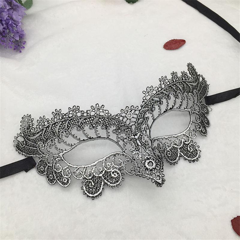 Серебряная горячая штамповка Дамская Сексуальная Маскарадная маска из кружева для карнавала, Хэллоуина, выпускного вечера, Вечерние Маски, маска для глаз#35 - Цвет: PM003TS