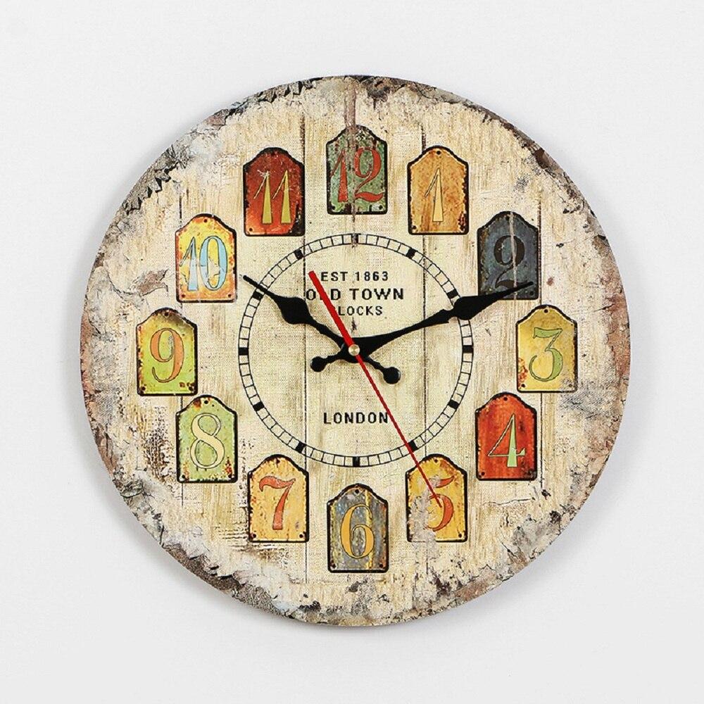 Horloges murales de chambre MDF montres salon décoration cloche européenne en bois massif ancienne horloge murale dessin animé paysage vivant