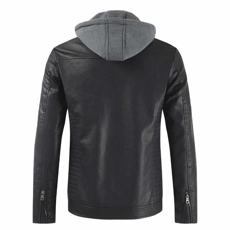 Осенняя и зимняя новая мужская кожаная куртка теплая Повседневная куртка мотоциклетное пальто однотонная шапка с капюшоном съемная ветрозащитная куртка