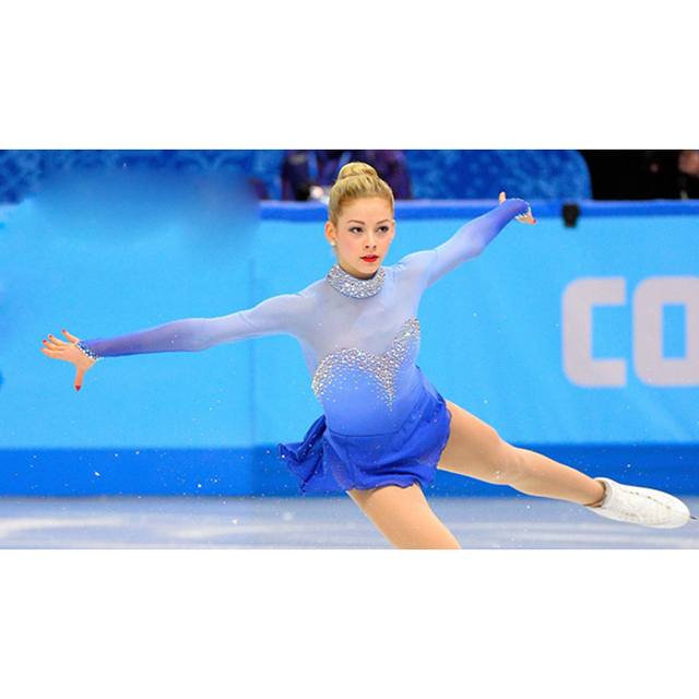 Cheap Customized Costume Ice Figure Skating Gymnastics Dress Competition Adult Child Skirt Performance High Collar Blue Gradient