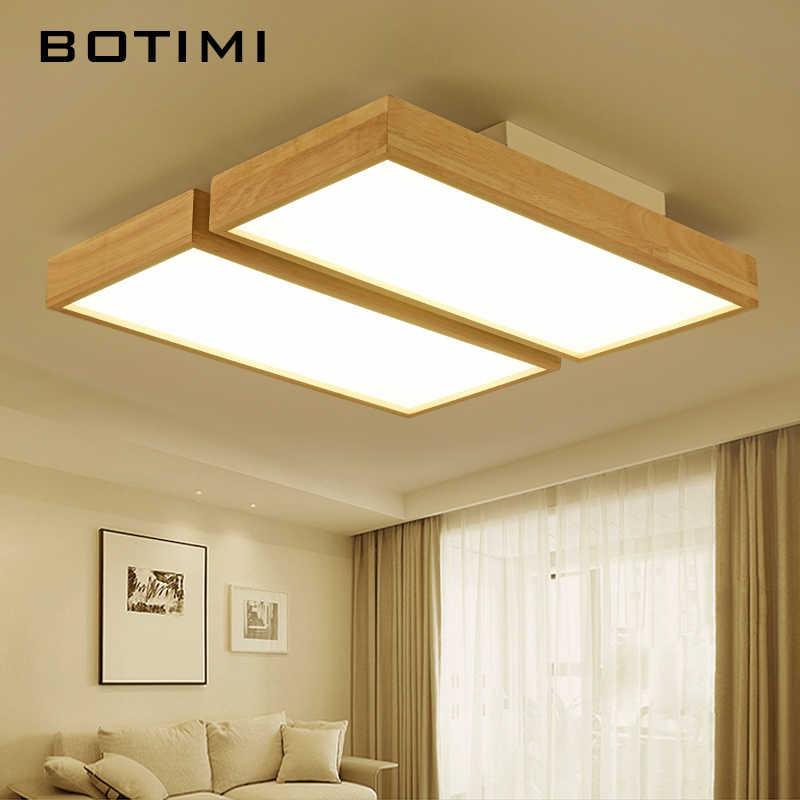 BOTIMI 220 V светодиодный потолочный светильник деревянные квадратные потолочные светильники с затемнением пульт дистанционного управления для гостиной лампа для столовой деревянные спальни лампы