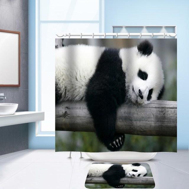 Non Slip Bath Mat 3D Cute Panda Shower Curtain Waterproof Polyester Bath  Curtains Doormat Carpet
