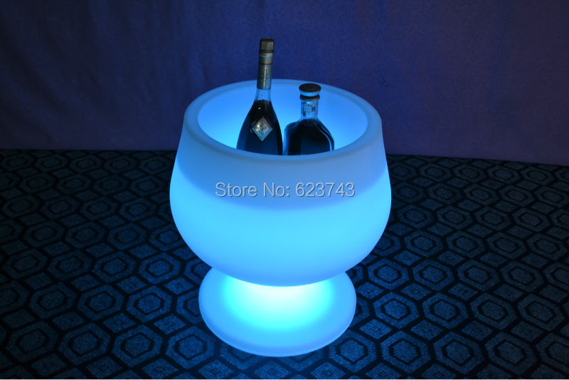 Free Ship Waterproof Luminous Champagne Coolers Buckets Rechargeable LIGHT DRINK FURNITURE Remote Controller+US/EU/BS/AU Adapter