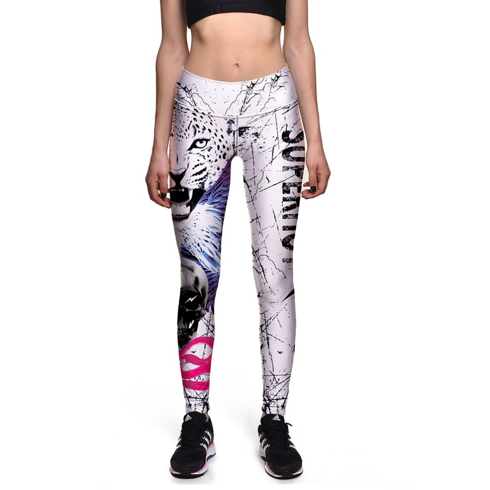 LOVE SPARK New Design White Tiger Printing Womens Running Leggings Workout Sportwear Clothes S To 3XL Jogging Yoga Gym Pants