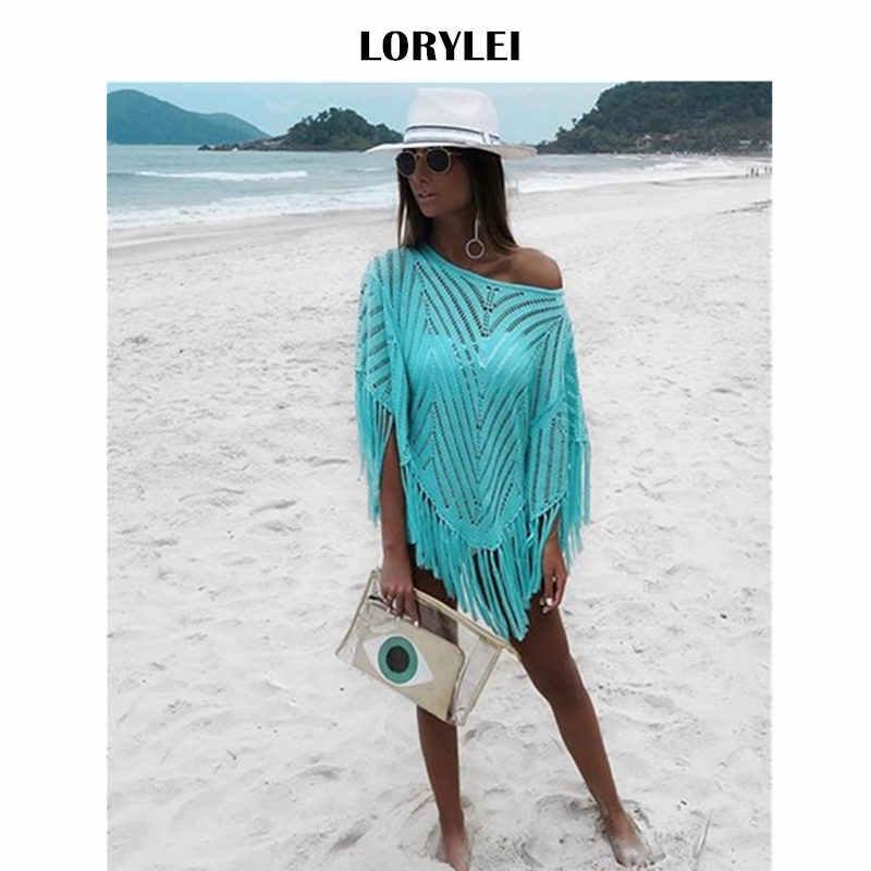 Сексуальные Голубое озеро полосатый крючком плащ с бахромой Мини платье для