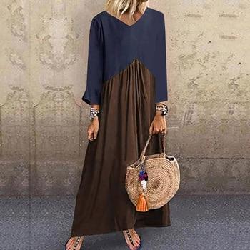 Lipswag 5XL Vintage Short Sleeve Long Dress Patchwork Casual Loose Plus Size Retro Maxi Dresses Women Summer O-neck Beach Dress 4