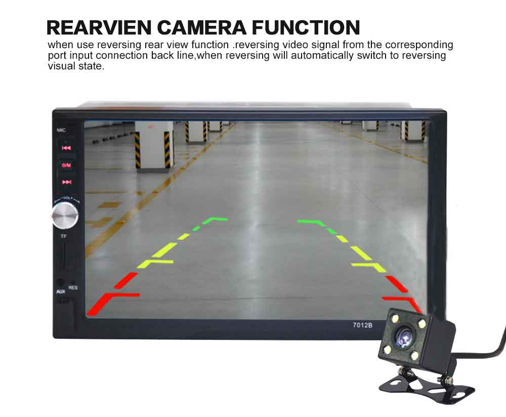 Autoradio 2din 7 Car Radio Player Hd Rear View Camera Bluetooth Reversing Monitor Tft Lcd Wiring Diagram Adopt 440 X 240 Resolution 26 Million Full Color Inch Display Screen One Way Video Output Rearview Audio