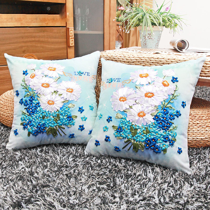 Blooms Daisy Flowers Ribbon Embroidery Kit Toolkit Cushion Covers Pillow Cover Fashion Home