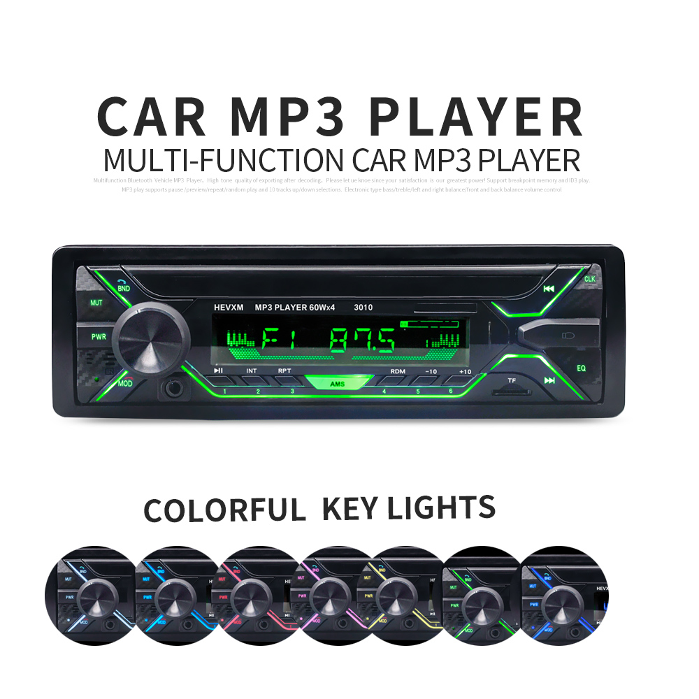 Car Radio Stereo Player Bluetooth Phone AUX-IN MP3 FM/USB/1 Din/remote control 12V Car Audio Auto Sale New image