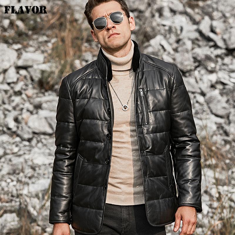 2018 chaqueta de piel de cordero de cuero genuino chaqueta de plumón de pato con cuello de pie abrigo de invierno Cierre de botón