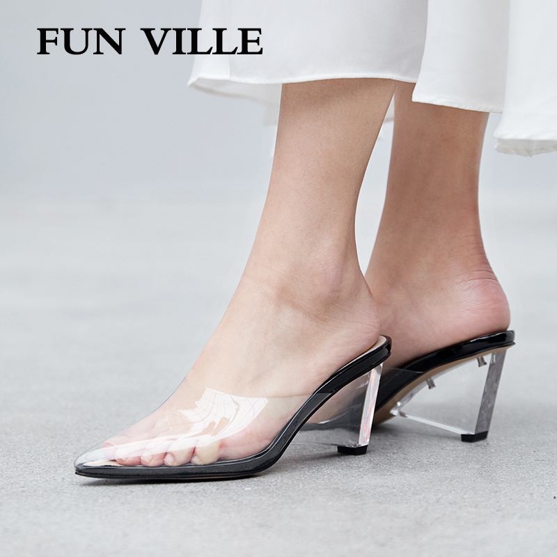 FUN VILLE New Fashion PVC transparent Summer Women Slippers High Heels Shoes sexy ladies shoes Outside