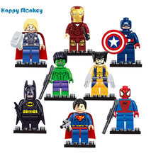 Single Sale Marvel Batman iron Man Hulk X-Men Super Heroes Building Blocks Figures Toys Compatible With legoed Child gift wy30(China)