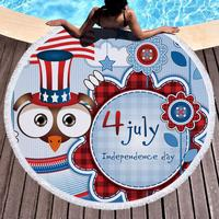 Independence Day Round Diameter 150cm Polyester large Beach Pool Home Shower bath Towel Blanket Yoga Mat for adults