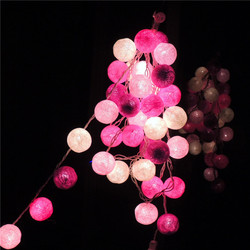 Stile tailandese 20 pz/lotto Rosa Batuffolo di Cotone HA CONDOTTO Alimentato A Batteria o Spina DEGLI STATI UNITI Luci Leggiadramente Della Stringa per il Natale Del Partito Ghirlanda festa di Nozze