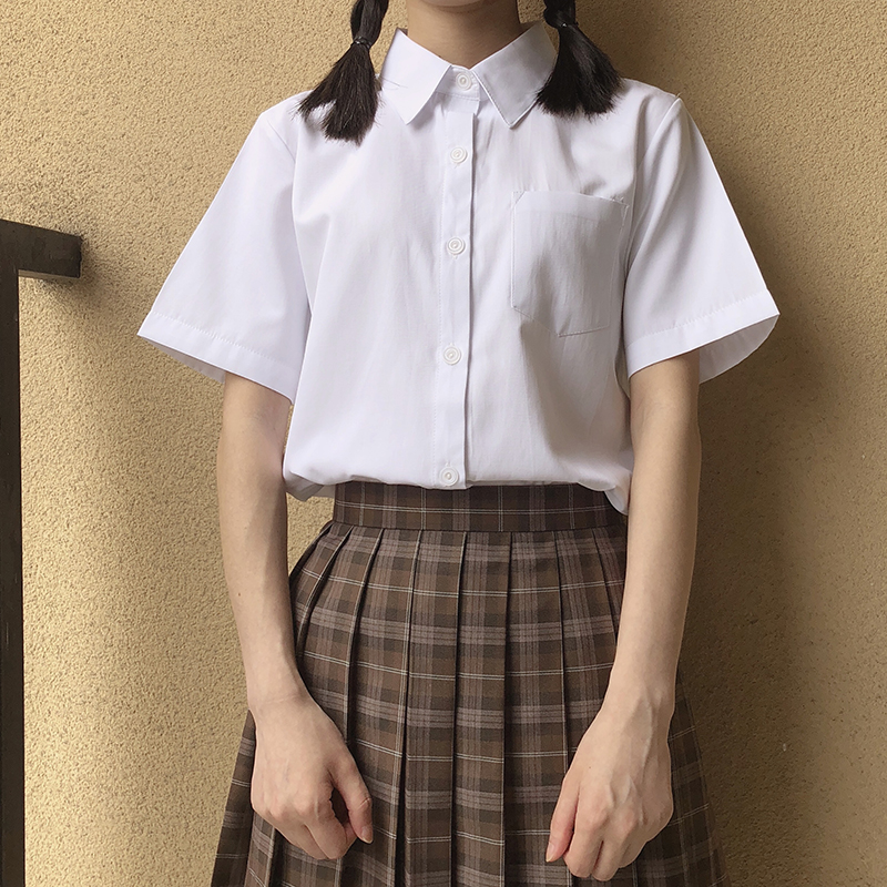 Image 2 - Japanese high school Schoolgirl Square collar short sleeve shirt Opacity solid white uniform shirtswhite uniform shirtwhite shirtcollar shirt -