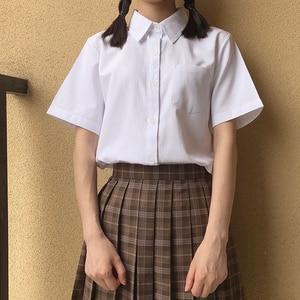 Image 2 - Japanese high school Schoolgirl Square collar short sleeve shirt Opacity solid white uniform shirts