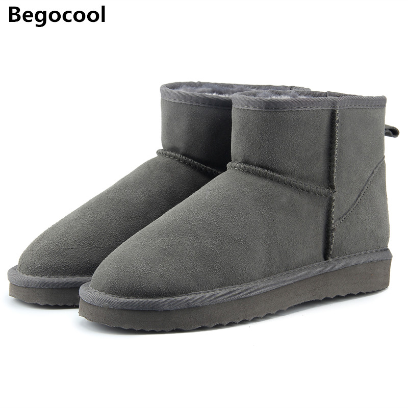 Begocool High Quality Australia Brand Winter Women's Snow Boots Cow Split Leather Ankle Shoes Woman Botas Mujer Big Size 4-13 2017 women s winter boots australia classic mini camouflage pattern ugs snow boots warm leather ankle boots brand ivg size 4 13