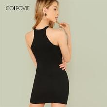 COLROVIE Black Sexy Sleeveless Mock Neck Solid Halter Summer Dress Mini Dress 2018 Slim Casual Women Dress Basic Bodycon Dress