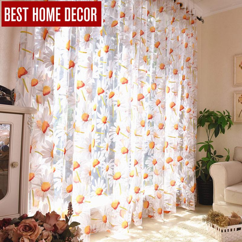 Best Home Decor Vorhänge Sheer Fenster Vorhänge Für Wohnzimmer Das  Schlafzimmer Küche Moderne Tüll Vorhänge Sonne Floral Stoff Jalousien