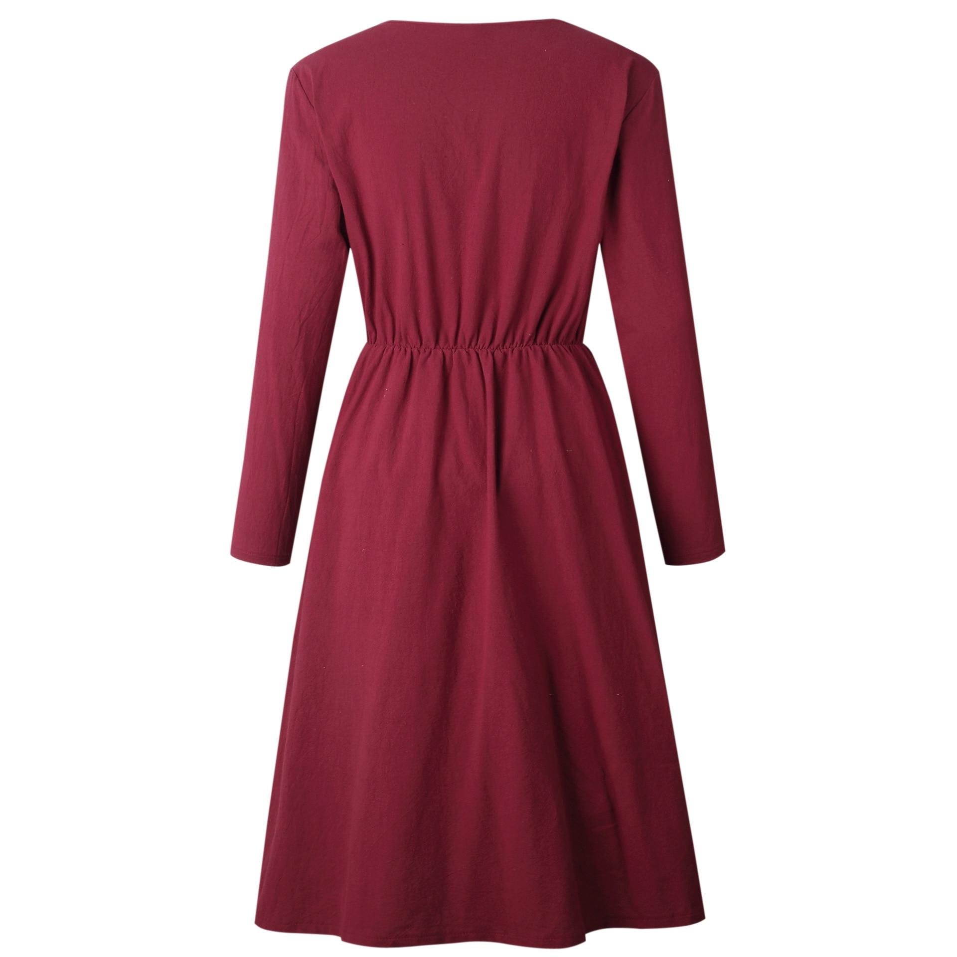 Red Blue A Line Casual Dresses Women Autumn Dress 19 Vintage Long Sleeve Dress For Ladies Buttons V Neck Midi Vestidos Female 27