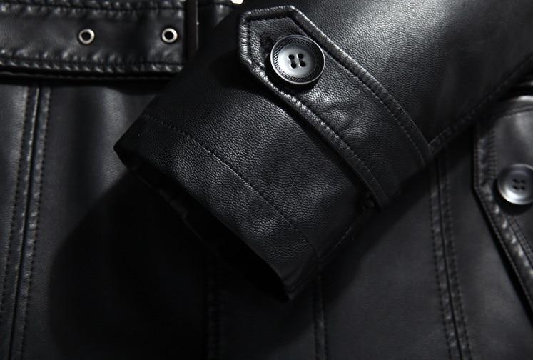 007 Новая модная зимняя мужская одежда из натуральной кожи пальто из овчины мужской кожаный длинный плащ - 5