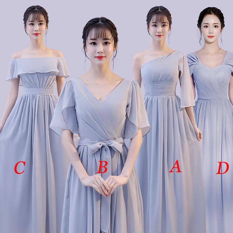 Mingli Tengda 2018 Chiffon V Neck   Bridesmaid     Dresses   Elegant Long   Dress   for Wedding Party for Women robe demoiselle d'honneur