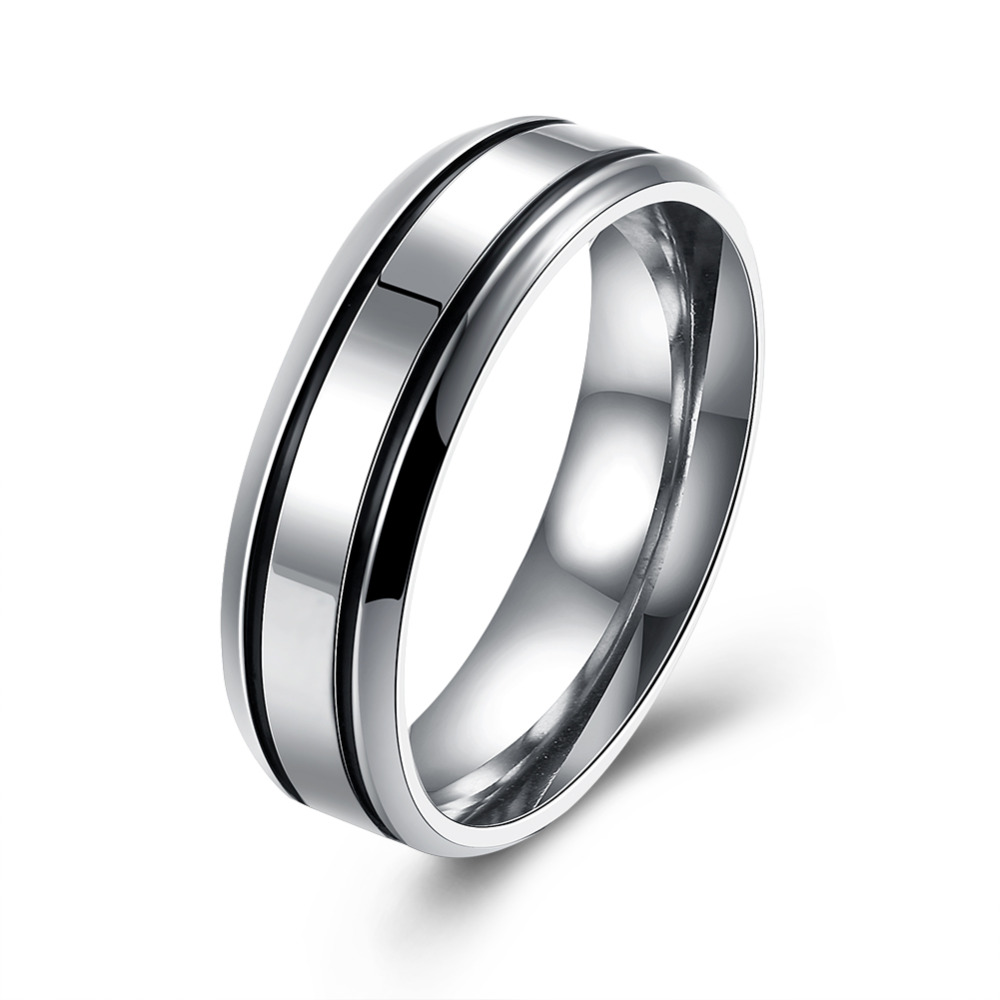 Vintage Silvercolor Men Engagement Rings Stainless Steel Black Stone Personalized  Wedding Rings For Men