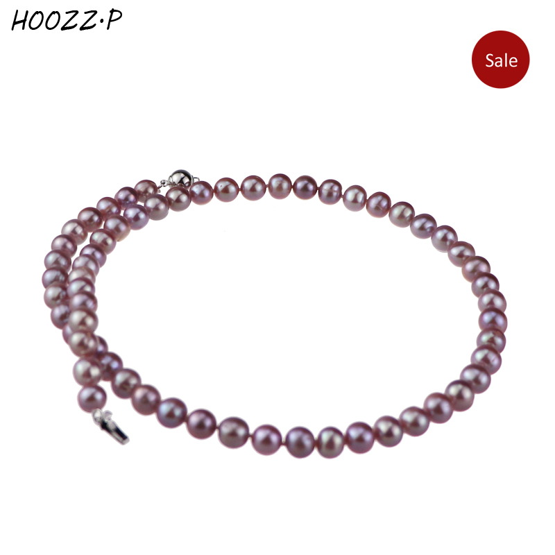 HOOZZ.P 925 Sterling silver Handpicked 6-7mm Lavender Freshwater Cultured Pearl Necklace Choker Necklace For womenHOOZZ.P 925 Sterling silver Handpicked 6-7mm Lavender Freshwater Cultured Pearl Necklace Choker Necklace For women