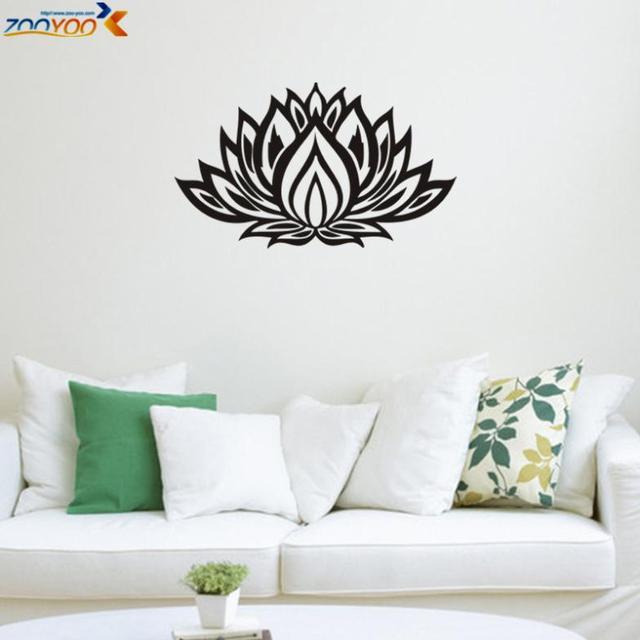 R  Black Lotus Flower Sticker ZooYoo8309 Vinyl Wall Sticker Living Room  Decoration Diy Home Decor Part 83
