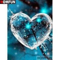 HOMFUN-Cuadro de corazón de agua elaborado con diamantes de imitación, decoración para el hogar sin terminar, punto de cruz, A19438