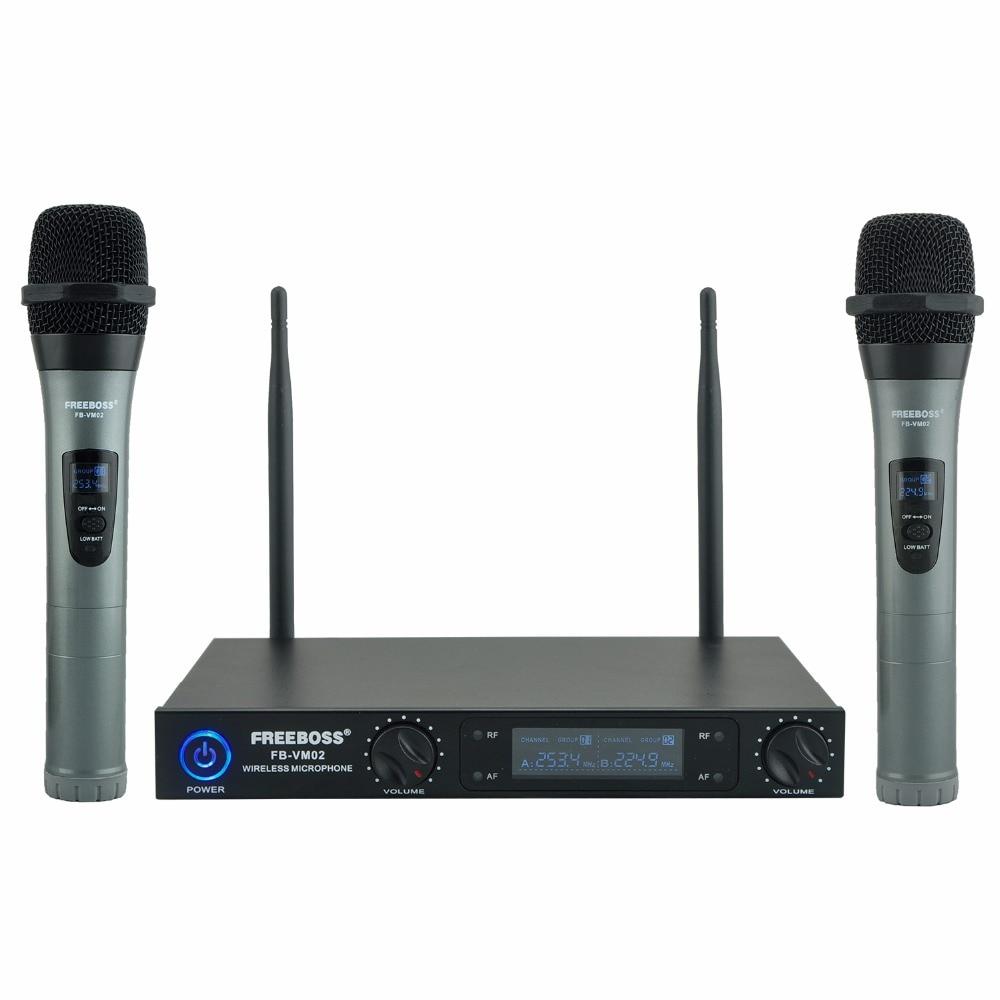 цена на Freeboss FB-VM02 Dual Channel Professional Metal Handheld VHF Karaoke Family Party DJ Wireless Microphone