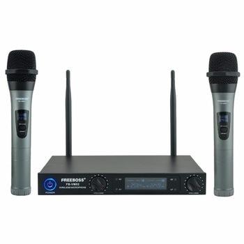 Freeboss FB-VM02 Dual Channel Professional Metal Handheld VHF Karaoke Family Party DJ Wireless Microphone