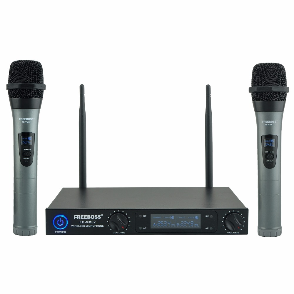 Freeboss Professional Microphones Dual Channel Handhelds Whole Metal Shell Mic Karaoke System Family Party Wireless Microphone boya by whm8 professional 48 uhf microphone dual channels wireless handheld mic system lcd display for karaoke party liveshow