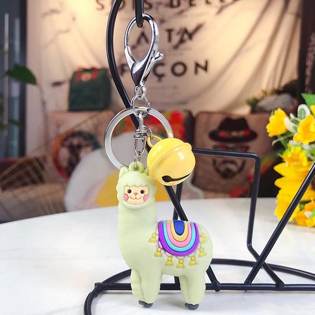 Cute Cartoon Alpaca Doll Keychain Child Toy Animal Bells pendant Key chain Trinkets Car Purse Key Chains Gift for Women Bag in Key Chains from Jewelry Accessories