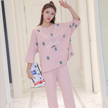 Женские пижамы из чистого хлопка 2 шт с мультяшным принтом Дамская
