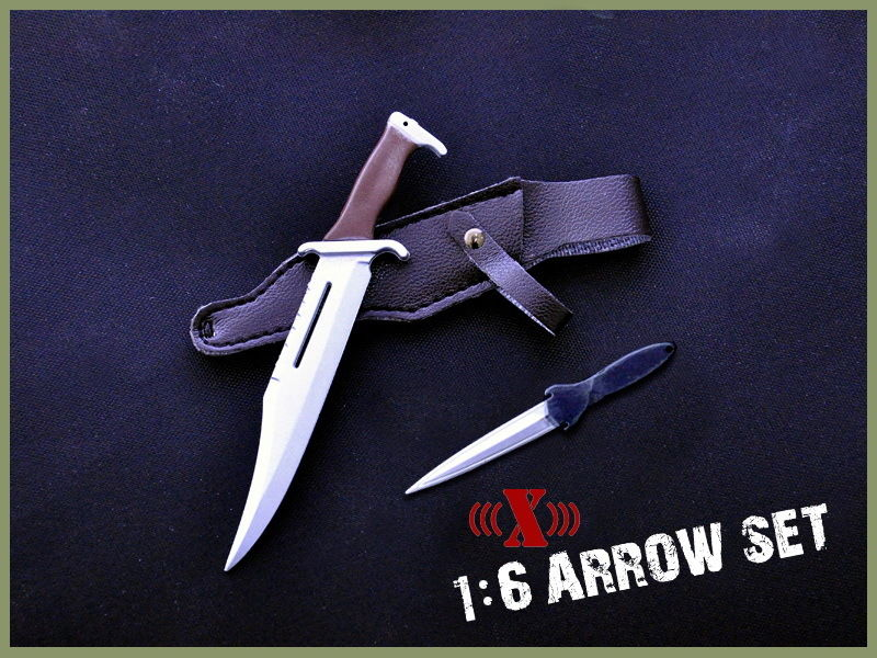 Hobby Collections X TOYS 1 6 Scale Rambo Black Bow Arrow Set font b Knife b