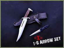 Hobby Collections X-TOYS 1/6 Scale Rambo Black Bow Arrow Set & Knife Model Toys For 12″ Action Figure Body Accessory