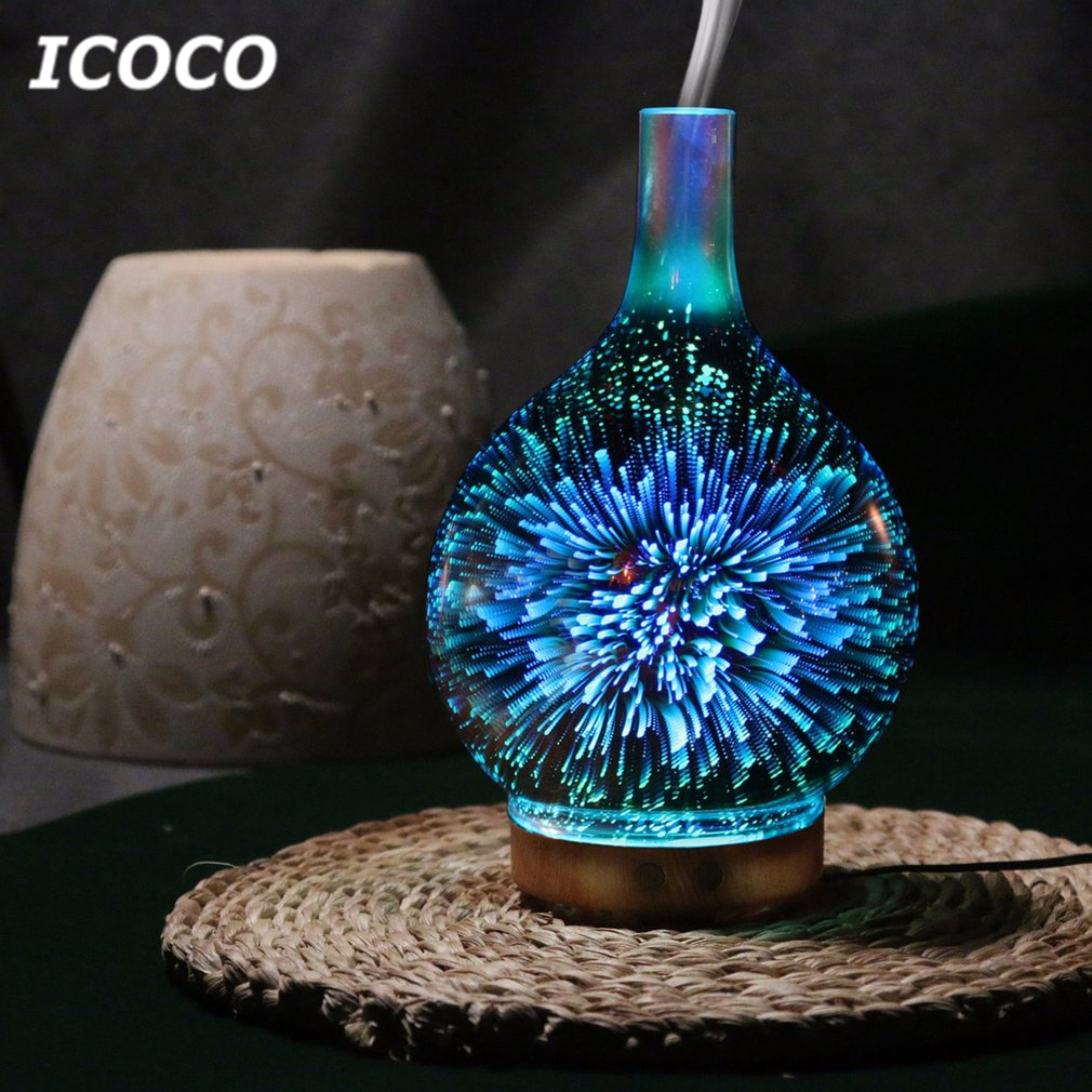 ICOCO 3D Glass Vase Shape 75ml Ultrasonic Humidifier Home Oil Diffuser 7 Colors LEDs Night Light Aromatherapy Air Purifier 7 colors leds night light 3d glass humidifier home essential oil diffuser aromatherapy air purifier 2018 new