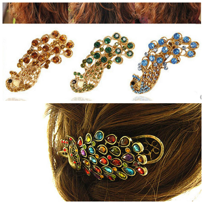 High Quality Vintage Hollow Peacock Hairpin Rhinestone Hair Barrette Hairgrip Hairs Accessories Gift For Women Girls