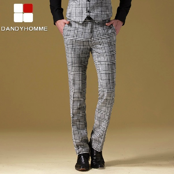 DANDY HOMME HIGH QUALITY 2015 man autumn spring slim england fashion young man business wedding groom suits long pants plaid