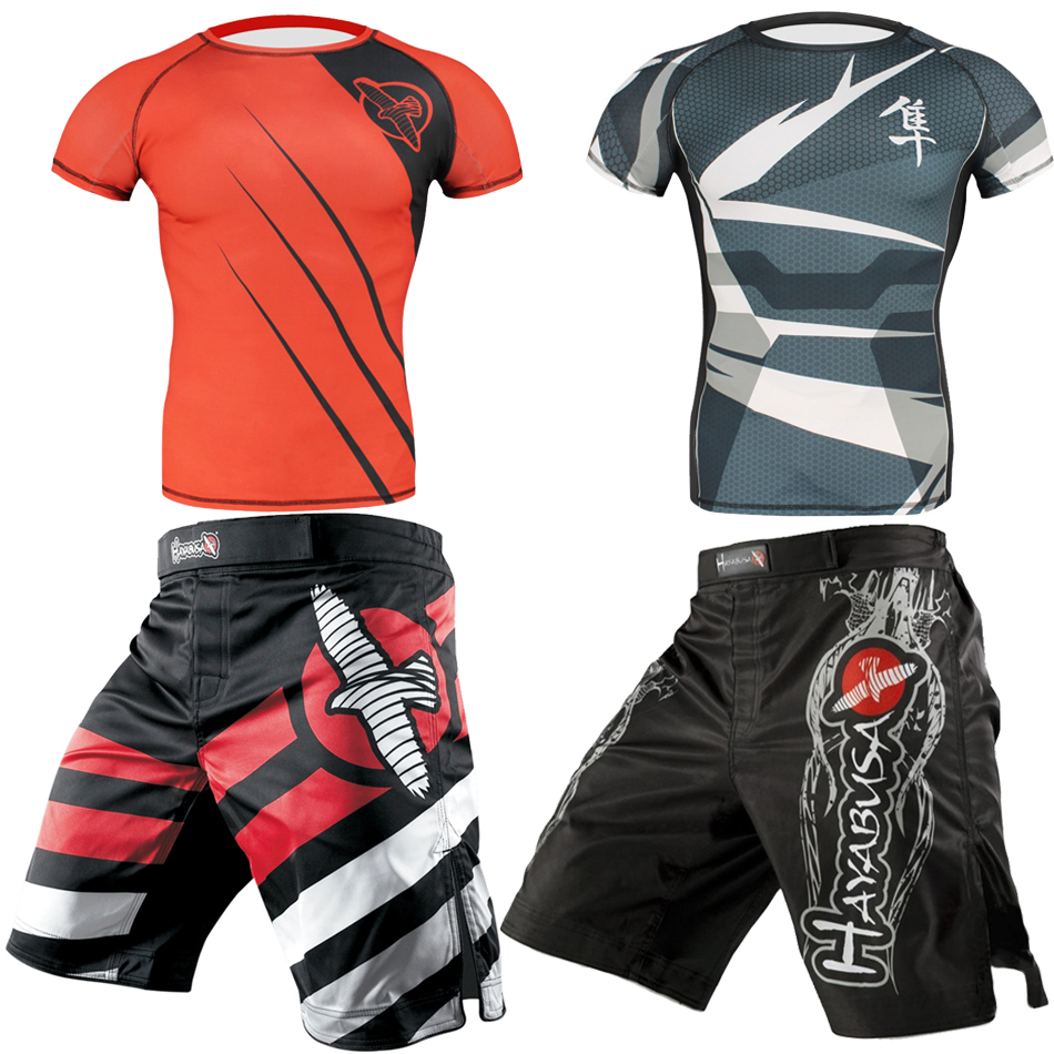 MMA Boxing Shorts Men Rashguard T-shirts Short Sleeve Boxing Jerseys Fitness Sanda Bjj Gi Sets Muay Thai T-shirts MMA Shorts