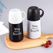 Cute Creative smiling Bottle Stainless steel insulating cup with lid for couples water cartoon student Vacuum Flasks & Thermoses