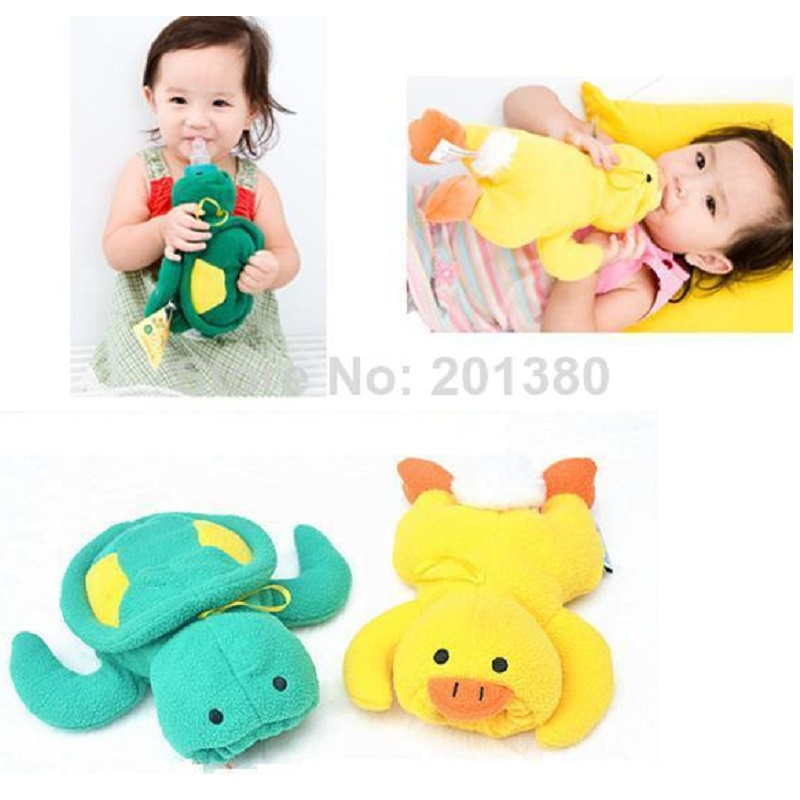 Turtle Duck baby fôrflaske Isolasjonspose nyfødt Plysj Toy Termisk veske Flaskeholder Bebe feeder cover Milk Bottle case