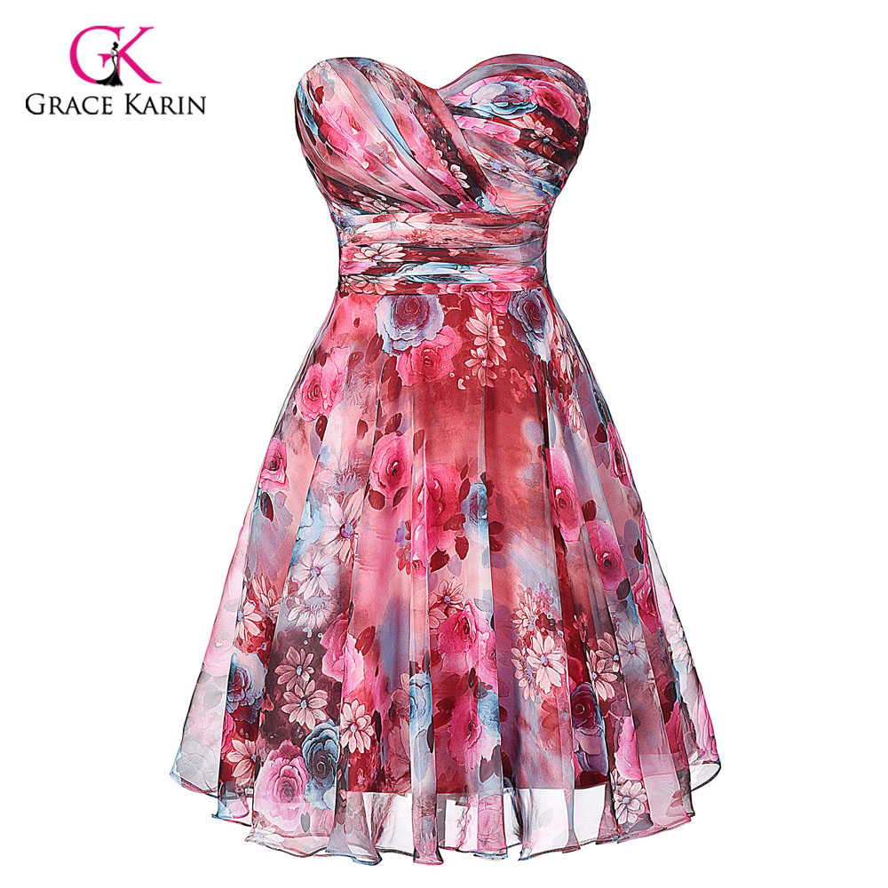 Cheap Bridesmaid dresses Grace Karin modest Chiffon Floral Print 2017 Short Wedding Vestidos bridesmaids Dress under 50
