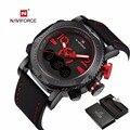 Naviforce marca de lujo analógico digital reloj de los hombres correa de cuero relojes de pulsera de cuarzo de doble pantalla led hombre reloj relogio masculino