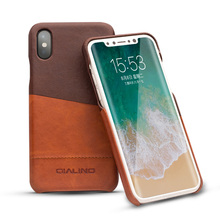 QIALINO Calfskin Split Joint Case For iPhone X